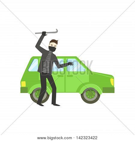 Criminal In Black Robbing The Car Flat Vector Illustration. Insurance Case Clipart Drawing In Childish Cartoon Style.