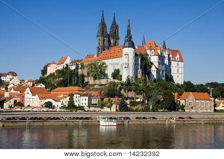 Cityscape of Meissen in Germany with the Albrechtsburg castle on the Elbe river. poster
