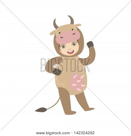 Boy Wearing Cow Animal Costume Simple Design Illustration In Cute Fun Cartoon Style Isolated On White Background