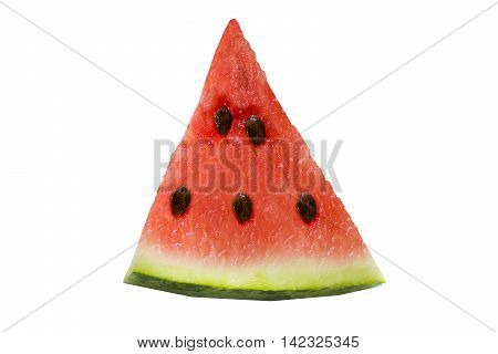 Juicy ripe slice of watermelon isolated on white background with clipping path. Ripe juicy summer fruit watermelon on white background with clipping path. Juicy watermelon for a healthy diet . poster