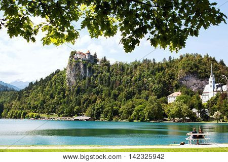 Amazing View On Bled Lake. Springtime or summertime in Slovenia.