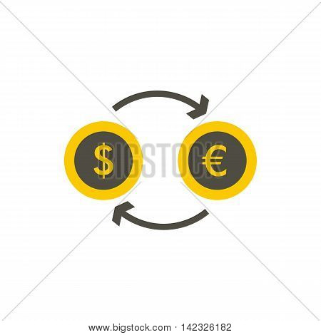 Euro dollar euro exchange icon in flat style on a white background
