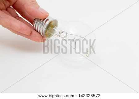 The transparent bulb with a tungsten filament