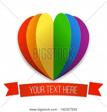 Rainbow heart with a ribbon. Vector illustration in LGBT flag colors. Symbol of peace gay culture. Modern colorful background for Gay Pride month. Paper layers.
