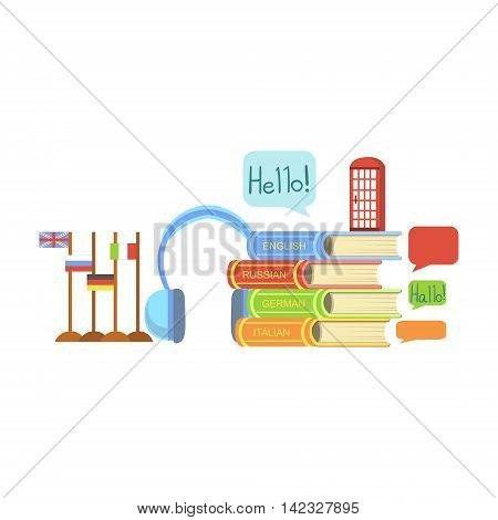 Foreign Languages Class Related Objects Composition, Simple Childish Flat Colorful Illustration On White Background