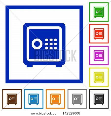 Set of color square framed strong box flat icons