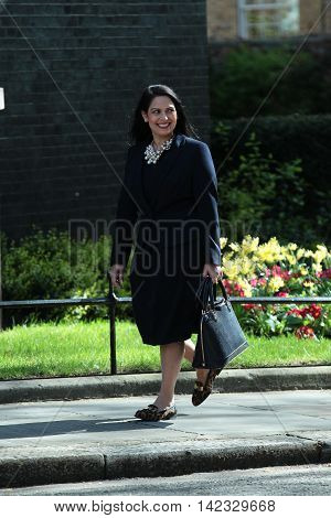 LONDON, UK, MAY 3, 2016: Priti Patel MP seen arriving in Downing Street for a cabinet meeting