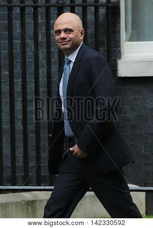 LONDON, UK, JUN 14, 2016: Sajid Javid MP arriving in Downing Street for the weekly cabinet meeting