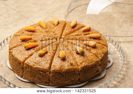 Anatolian style carrot cake into slices ready to serve