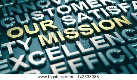 3D illustration of a company mission statement with blur effect and many positive words surrounding the main text