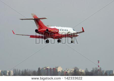 Kiev Ukraine - April 14 2012: Hawker 900XP Business Jet is landing in the city