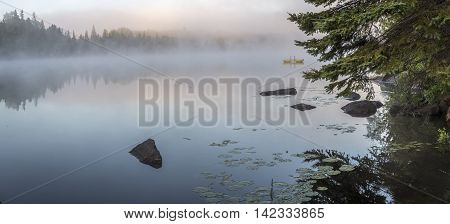 Misty Dawn On A Lake In Ontario, Canada
