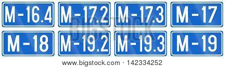 Collection Of Numbered Magistral Road Signs In Bosnia And Herzegovina