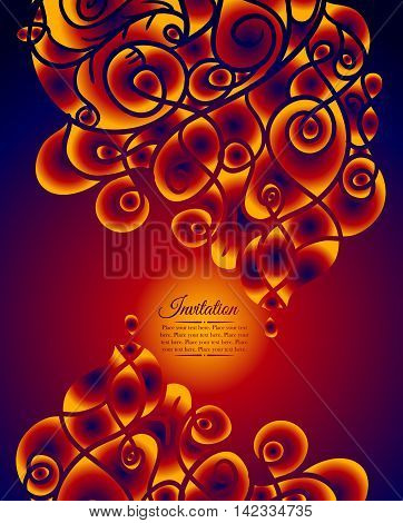 Colorful decorative invitation card with Swirling waves. Can be used for business template or resume. Greeting card
