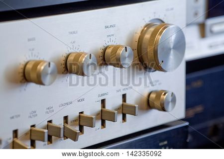 Detail of Vintage aluminium hi-fi Stereo Amplifier