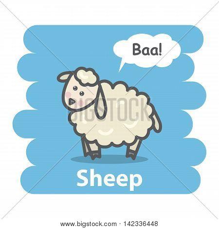 Sheep vector illustration.Cartoon cute farm animal sheep talking Baa in speech bubble hand draw isolated