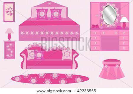 A set of furniture, bed, sofa, dresser, Ottoman, rug, lamp, bedside table, pink, vector illustration