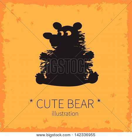 Vector illustration. Cute bear on an orange background.