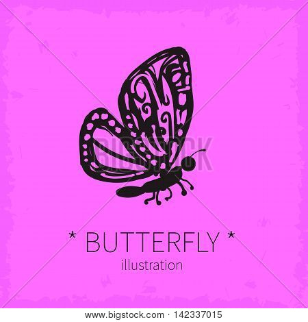 Vector illustration. Beautiful butterfly on a pink background.