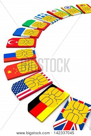 SIM card with the image of flags of States. Isolated. 3D Illustration