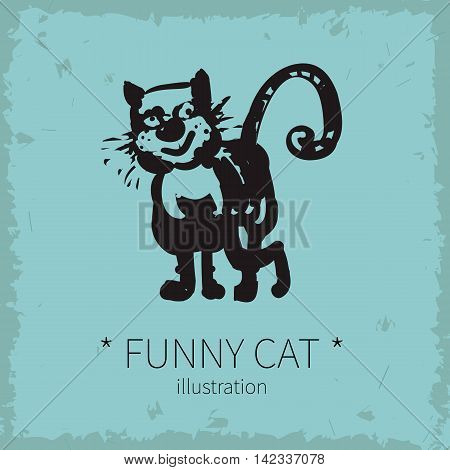 Vector illustration. Funny cat on a blue background.