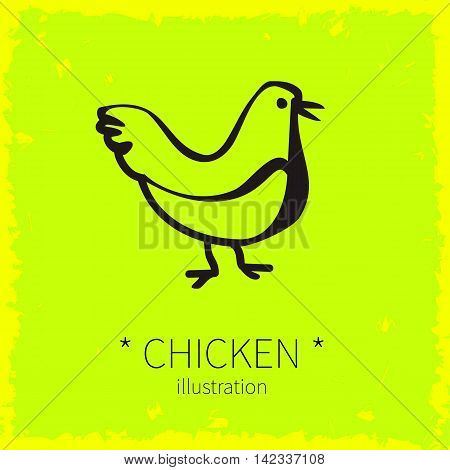 Vector illustration. Chicken bird on a yellow background.