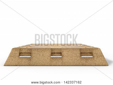 A 3D render of an empty traditional sumo wrestling ring made with sand on an isolated white studio background poster