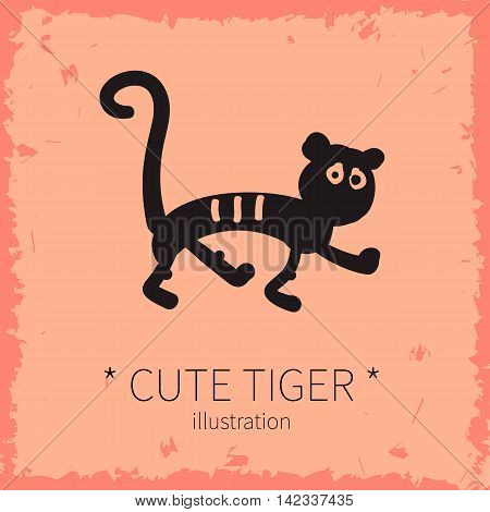 Vector illustration. Cute tiger on a pink background.