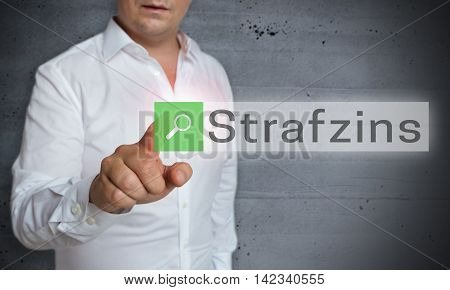 Strafzins (in German Negative Interest) Browser Is Operated By Man Concept