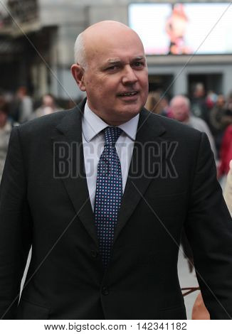 LONDON, UK, JUN 2, 2016: Iain Duncan Smith MP seen arriving to Global media radio picture taken from the street