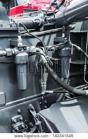 hydraulics tractor. focus on the hydraulic pipes