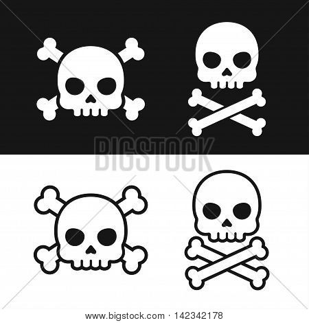 Pirate flag icon on black and white background. Jolly Roger Skull with crossbones. Death danger symbol.