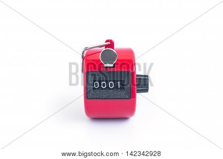 red hand tally counter on white background