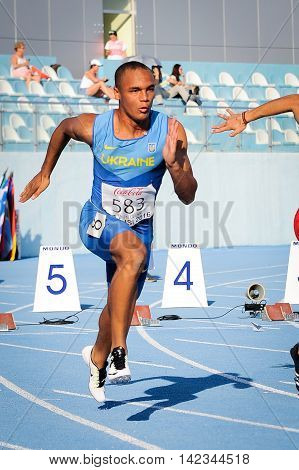 MAKUKH Vasyl during 100m run competition at the European Athletics Youth Championships in the Athletics Stadium Tbilisi Georgia 14 July 2016