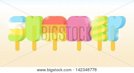 Summer Ice Cream Poster typography. Summer vacation concept. Popsicle typeface. Vector illustration