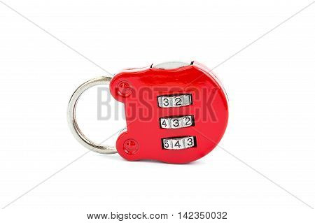 Close-up red combination padlock isolated on white background