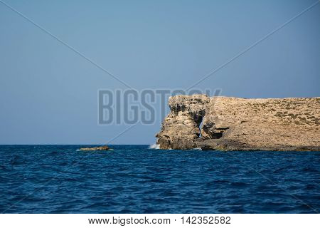 View of the Maltese seas shot during a small boat trip to Comino Island.