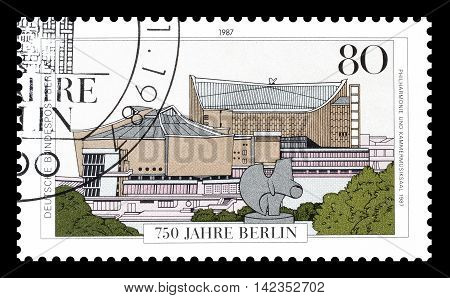 BERLIN - CIRCA 1987 : Cancelled postage stamp printed by Berlin, that shows Philharmonic and Chamber Music Hall.
