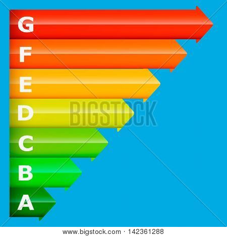 Energy classification symbol on a blue background . Vector.