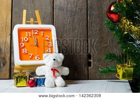 Counting down to Christmas party wooden copy space