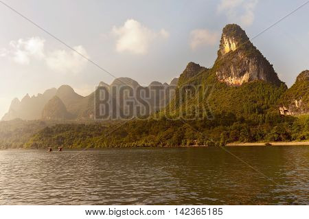 Karst Mountains Along The Li River Near Yangshuo, Guangxi Province, China