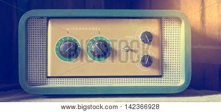 Vintage Pastel color Microphone Headphone amplifier system