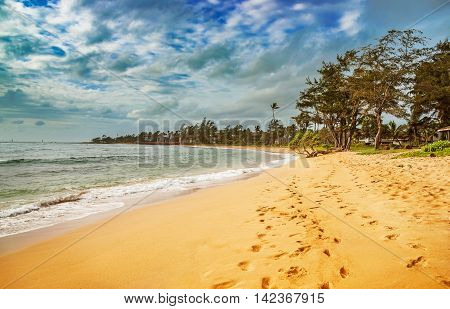 View At The Beach On Kauai Island Of Hawaii.