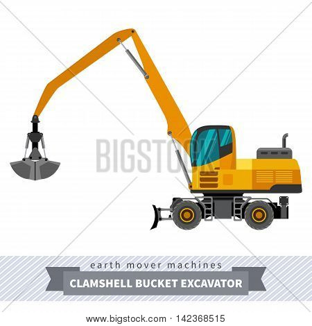 Material handler clamshell bucket material mover machine. Vector isolated illustration