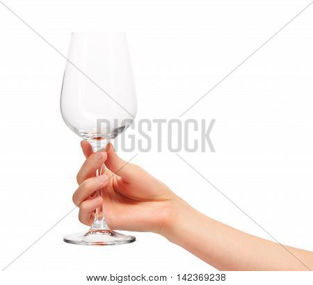 Female Hand Holding Empty  Wine Glass Against White