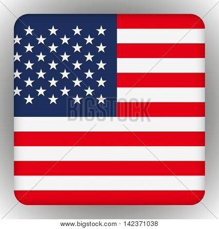 American United States Flag in glossy square button of icon. USA emblem isolated on white background. National concept sign