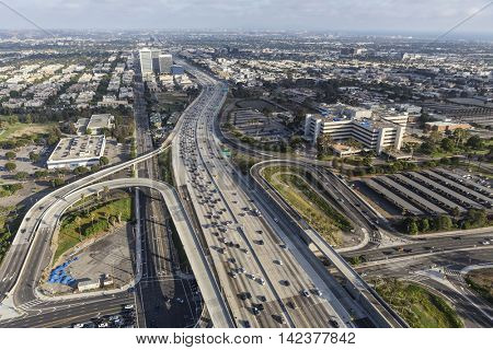 Los Angeles, California, USA - August 6, 2016:  Aerial view of Wilshire Blvd ramps to the San Diego 405 Freeway in West Los Angeles.