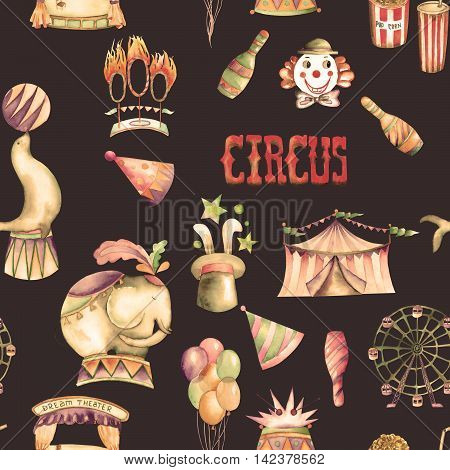 A seamless pattern with the watercolor retro hand drawn circus elements: air balloons, pop corn, circus tent (marquee), ice cream, circus animals, clowns, Ferris wheel. Painted on a dark background