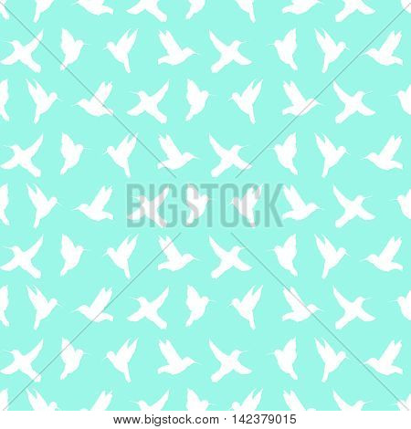 Seamless pattern of silhouette of colibri  on a turquoise background