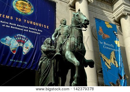 New York City - March 7 2005: Equestrian statue of President Theodore Roosevelt stands in front of the Central Park West entrance to the American Museum of Natural History